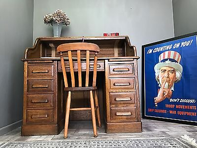 Stunning Antique Oak Roll Top Desk - Solictors Office Leather Top Study Library
