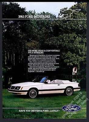 1983 Ford Mustang convertible white car photo vintage print ad