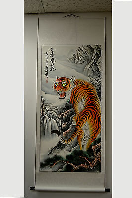 "Chinese Wall Art Painting Scroll Tiger Home Decor 68""L"