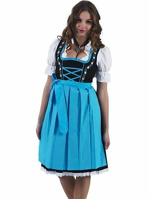 Germany,German,Trachten,Oktoberfest,Edelweiss,Dirndl Dress,3-pc.Sz.16,Blues.FREE