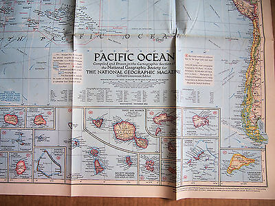 "1952 National Geographic Pacific Ocean Wall Map BIG 29 x 37"" v good cond."