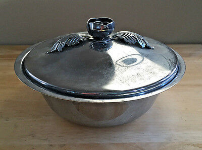 Vintage Continental Chrome Covered Bowl 3057 with Pyrex Insert Tulip Finial Lid