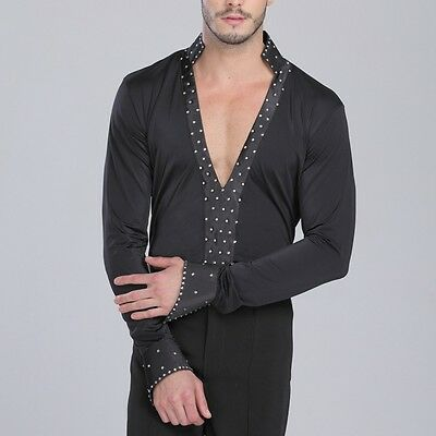 Mens Spandex Black Dancewear Deep V Neck T-shirt Latin Dance Stage Costume New