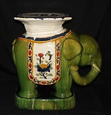 Vintage Mid Century Green Glazed Pottery Elephant Lamp End Table Plant Stand #2