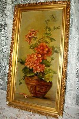 Antique Victorian Roses Chic Geranium Oil Painting Chippy Gilt Gesso Shabby Old