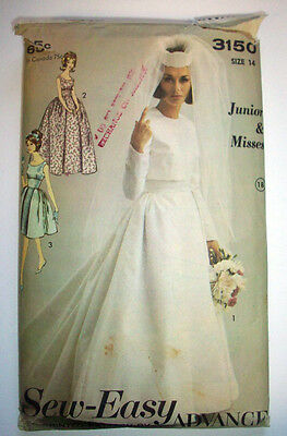 1960's? wedding gown dress with jacket  pattern 3150 size 14