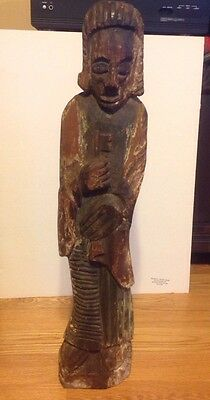 "Chinese Hand Carved Wood Immortal God 26"" Figurine Statue Female Polychrome"
