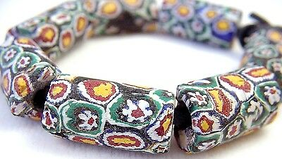 Old Antique Venetian Millefiori Fancy Wound Glass African Trade Beads Millefiore
