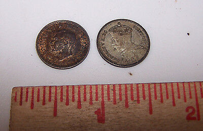 1934 & 1942 New Zealand 3 Pence Coins - Estate find