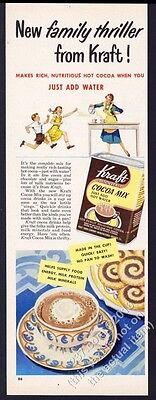1949 Kraft cocoa mix hot chocolate mom kids art vintage print ad