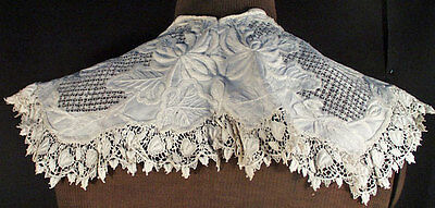 ANTIQUE LACE COLLAR 19TH c. WHITEWORK  NEEDLEWORK WEARABLE MUSEUM DEACCESSION