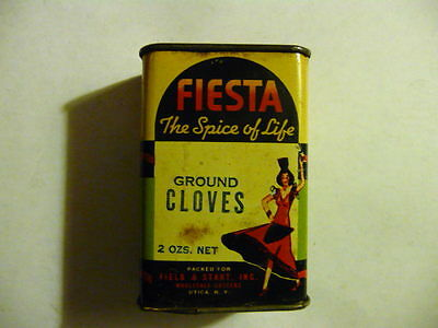 Vintage Fiesta Spice Tin Litho Cloves Can Dancing Girl Utica NY