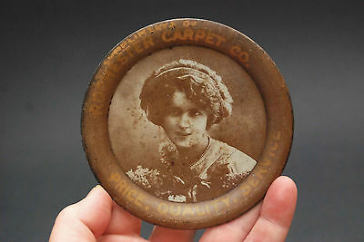 Antique Rochester Carpet Tip Tray Lady Portrait Price Quality Service Tin Round