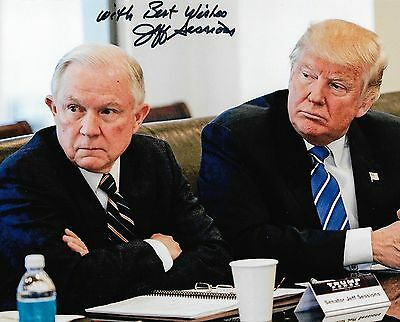 Jeff Sessions US Attorney General REAL hand SIGNED 8x10 photo Donald Trump COA B