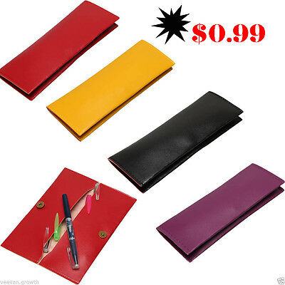 Fashion Slim Pencil Pen Case Cosmetic Pouch Pocket Brush Holder Makeup Bag