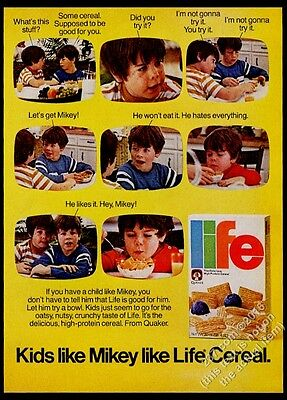 1977 Life Cereal TV commercial Mikey photo sequence vintage print ad