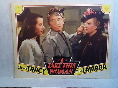 Original 1940 Lobby Card I TAKE THIS WOMAN Hedy Lamarr Spencer Tracy