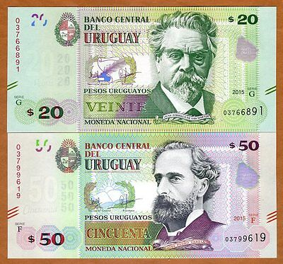 SET Uruguay, 20;50 Pesos Uruguayos, 2015 (2017), P-New, Upgraded Security,UNC