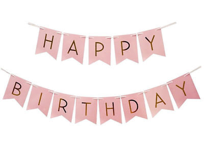 Happy Birthday Bunting Garland Gold Letters Party Hanging Banner Décor White