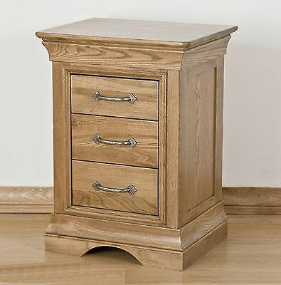 Lourdes solid oak french furniture three drawer bedside cabinet stand unit
