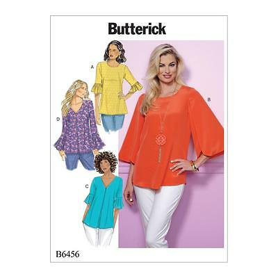 Butterick Sewing Pattern Misses' Easy Top With Back Button Size 6 - 22 B6456