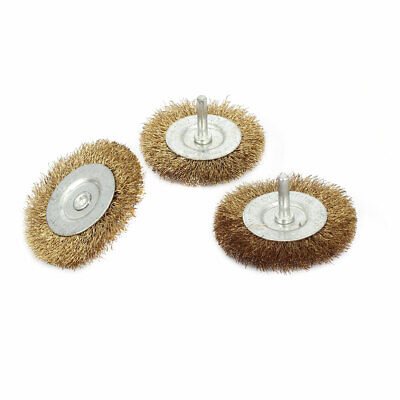 3pcs 6mm Shank 75mm Dia T Shaped Steel Wire Polishing Brush for Rotary Tool