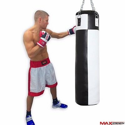 4ft Filled Boxing Punching Bag Hanging  Chain Martial Arts MMA PVC Gym Training