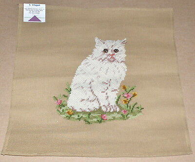 """White Cat w/ Grass & Flowers"" Preworked Penelope Needlepoint Canvas"