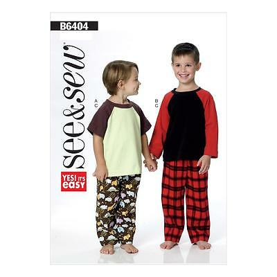 Butterick Sewing Pattern See & Sew Boys' Pyjamas Tops & Pants Size 2 - 8 B6404