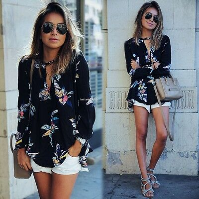 New Fashion Women Casual Long Sleeve Sheer Floral Shirt Tops Blouse Tee T-shirt