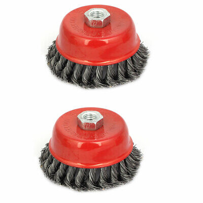4 Inches Diameter Knotted Cup Brush Wire Wheel Polishing Buffing Tool 2pcs