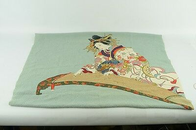 Vintage Beautiful Hand-Crafted Japanese Scarf Traditional Woman Playing Koto