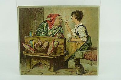 Large Antique Atlantic & Pacific Tea & Coffee Co. Victorian Trade Card Jester