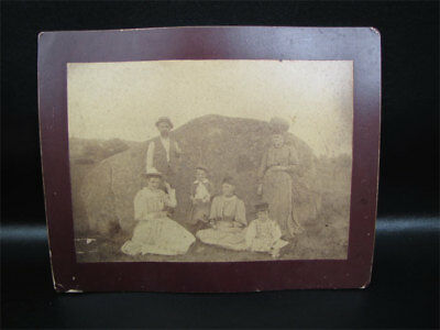 Antique Mounted Photo Family Posed By A Large Rock