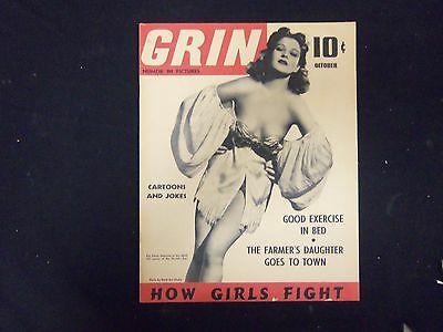 1940 October Grin Magazine - Nice Cover, Photos, Articles & Ads - St 3297