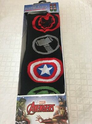 Kids Marvel Avengers Childrens Slipper Socks Unisex Red Black Gripper