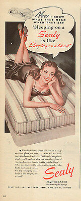 1950s vintage AD SEALY MATTRESSES  Art Pinup girl on bed Nice! 103016