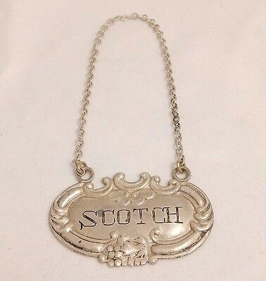Sterling Silver Scotch Whiskey Bottle Tag
