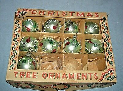 9 Vintage Christmas Tree Ornaments in Box Poland All the Same