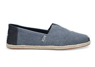 TOMS Mens Coated Linen Rope Sole Classics Deep Ocean Espadrilles Various Sizes