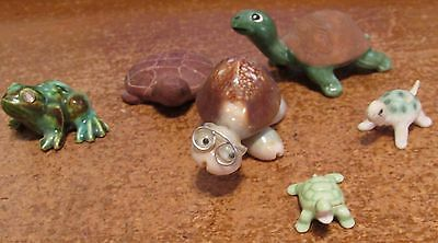 Mint Lot Small Collection 5 Assorted Turtle Figurines & 1 Frog w Sequin Eyes