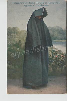Turkish Bosnia Herzegovina Woman in Berka Old Postcard Vintage 1910's