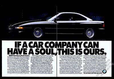 1991 BMW 850i black car photo vintage print ad