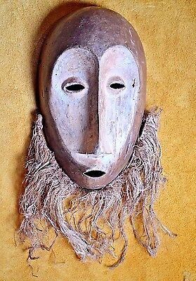 Antique African Lega Tribal Bwami Face Mask Pigment Beard Remnants Congo, Africa