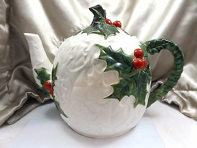Antique Tea Pot Porcelain Ceramic Christmas Holly Numbered Red Green White