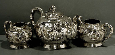 Chinese Export Silver Tea Set         DRAGON                       51 OZ