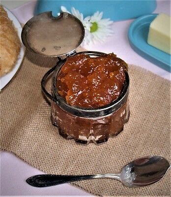 Antique Silver Plate and Crystal Marmalade or Honey Jar Food Stylist Blog Props