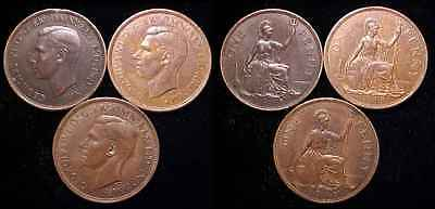 GREAT BRITAIN 1940, 1944 and 1945 Penny XF 3 Pc. Lot ***