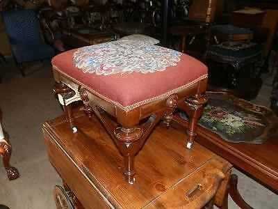 Gorgeous Victorian Antique Needlepoint Stool On Casters