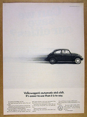 1968 vw beetle photo Volkswagen's Automatic Stick Shift vintage print Ad